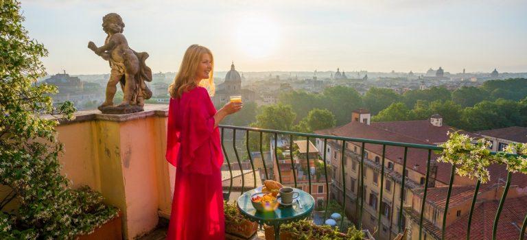 Vue d'un balcon à Rome